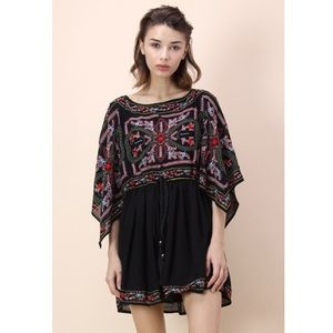 Chicwish Brilliant Boho Embroidered Black Dress